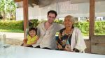 Grandmother and grandchild at kiosk