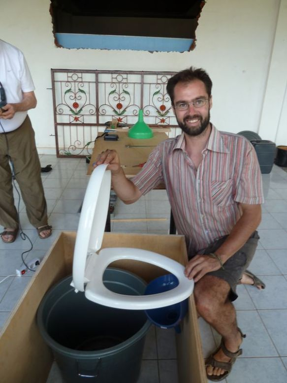 A urine diverting dry toilet constructed from local materials in Bali