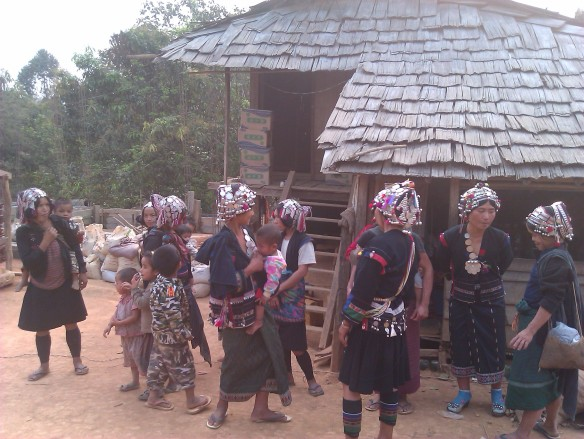 Women at an traditional celebration in a village in Laos