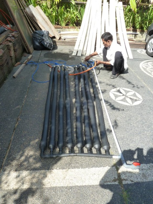 A solar water heater made of PVC. Put in the sun without water.